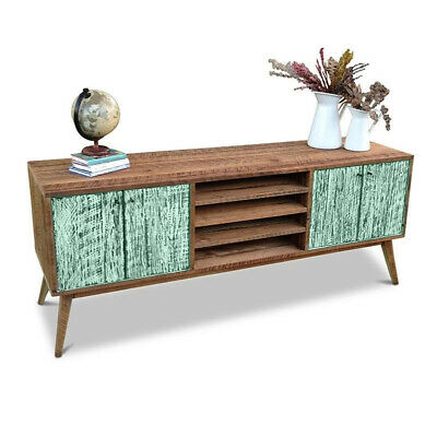 Rustic Wooden Lowline TV Stand Entertainment Unit Media Cabinet w/ Shelves Green