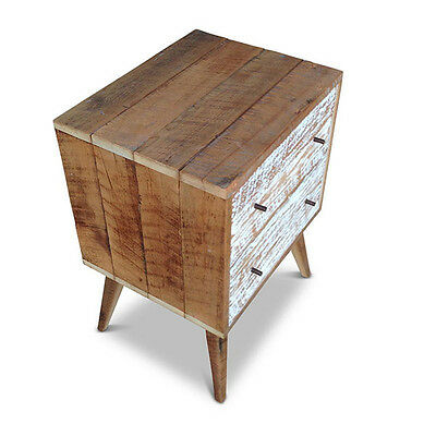 Eco Recycled Rustic Wooden Bedside Lamp Table w/ 2 Drawers White Free Delivery