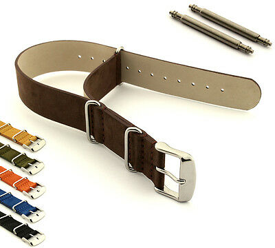 Suede Genuine Leather Military Watch Strap Band SS. Buckle 18 20 22 24 Nato MM