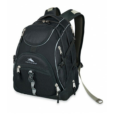 NEW High Sierra Access Travel Business Laptop Backpack w/ Rain Cover Black/Black