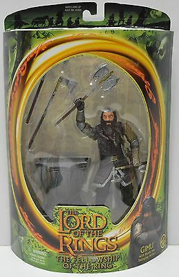 Lord of The Rings Toy Biz 2001 Gimli with Battle Axe Action Figure NIP