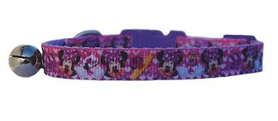"""Lilac Disney's  """" Minnie Mouse""""   safety kitten cat collar 3 sizes"""