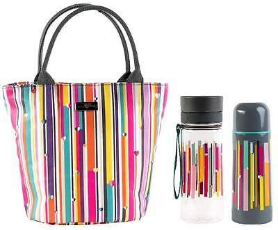 Beau & Elliot Linear Insulated Lunch Tote, Hydration Bottle and Vacuum Flask