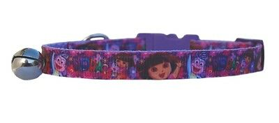 "Pink Purple Lilac   ""Dora The Explorer ""   safety kitten cat collar 3 sizes"