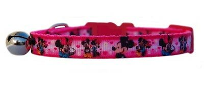 "HOT PINK    ""MICKEY & MINNIE  ""   safety kitten cat collar 3 sizes"