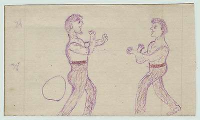 RARE -   SUPER -    1872 Folk Art Drawing -   Boxing Bare Knuckle  Steuben Co NY