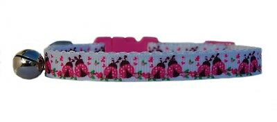 "White Pink ""Ladybirds""   safety kitten cat collar 3 sizes"