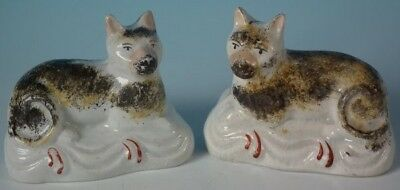 Pair Staffordshire Pottery Cats