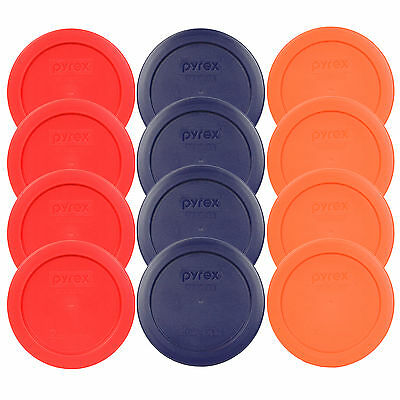 """Pyrex 7200-PC 2 Cup Round 5"""" Storage Lid Cover 12PK 4-Red 4-Blue 4-Orange New"""