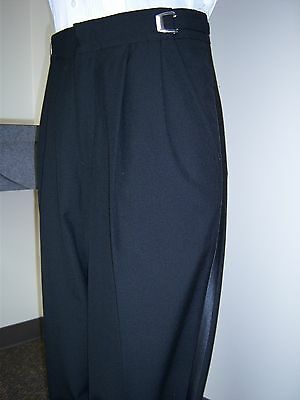 Black 100% worsted wool Tuxedo Trousers - most men's sizes available