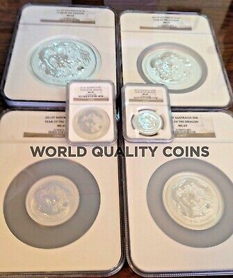 2012 Australia Silver Set 6 coins Year of the Dragon Zodiac Perth NGC MS68-70