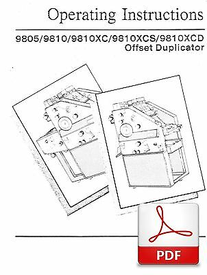 Ab Dick 9805 9810 Xc Xcs Xcd Offset Duplicator Operators Instruction Manual