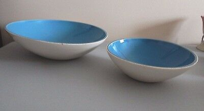 Red Wing Pottery Eva Zeisel Town and Country Salad and Serving Bowls Pair Blue
