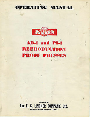 Asbern 15x23 ProofPress AD-1 PI-1 PRINTING PRESS OPERATORS MANUAL PDF