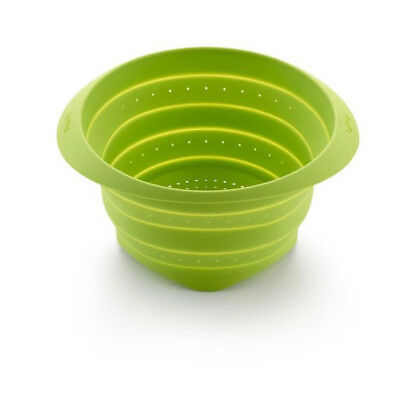 Lekue 9 Inch Silicone Collapsable Colander, Green