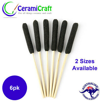 6x Foam Cattail Cleaners Brushes Pottery Tools Art Craft 2 Sizes