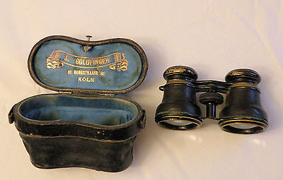 "Antique German Opera Glasses, ""S. Goldfinger"" Koln, Leathe Engraved Leather Case"