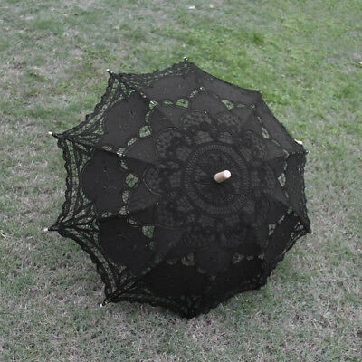 Women Lace Parasol Umbrella Woode Hand For Bridal Wedding Decoration Black