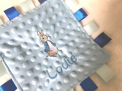 Personalised Baby Blanket  BEATRIX POTTER TAGGY Rose bud fluffy Peter Rabbit