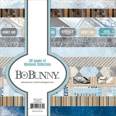 BoBunny Whiteout Winter Paper Pad Scrapbook Motiv Block 15x15 cm 36 Blatt