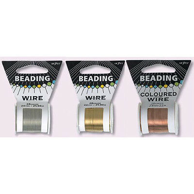 Beading Wire, 28 gauge, pk of 3 reels, Silver, Gold and Copper, 21m each