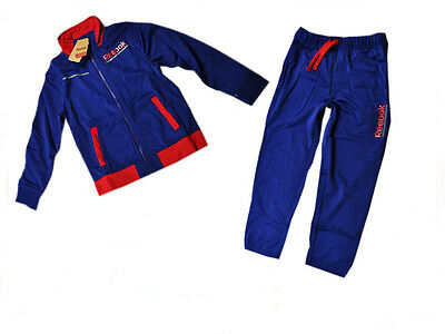 Reebok childrens blue red polyester athletic full sports tracksuit set B03302