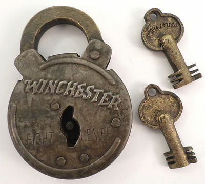 Winchester Old Looking 8 Lever Lock Steel Case 2 Keys Antique Finish