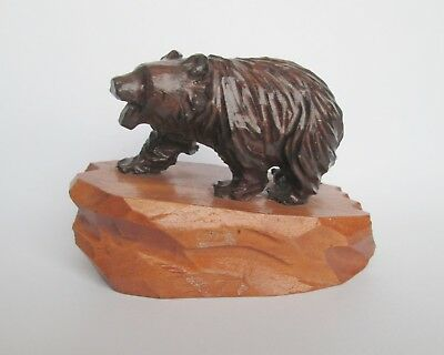 VINTAGE ANTIQUE HAND CARVED WOODEN TREEN BEAR FIGURINE with GLASS EYES