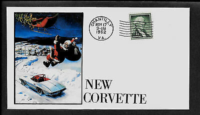 1962 Corvette Xmas ad Featured on Collector's Envelope *X293