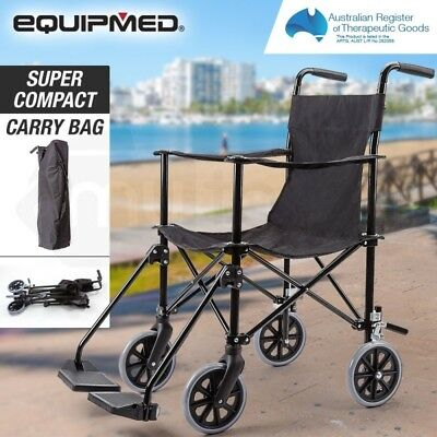 Transport Folding Wheelchair Mobility Aid - Lightweight, Carry Bag, Dual Brakes