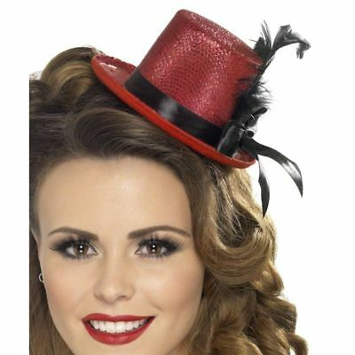 7be80153e43 Red Glitter Mini Top Hat With Feathers Burlesque Show Girl Fancy Dress