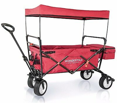 2017 Next Generation Best Folding Wagon w/ Canopy Kids Outdoor Cart - Ruby Red
