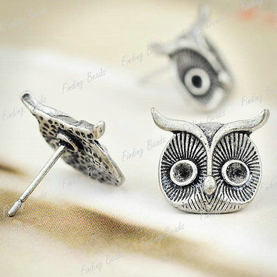 10 fashion Owl Ear stud Component Antique Silver Jewelry TS7408