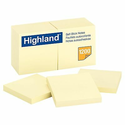 Highland Self-Stick Pads 3x 3 Yellow 1200 SHEET 12-Pack NEW Free Shipping