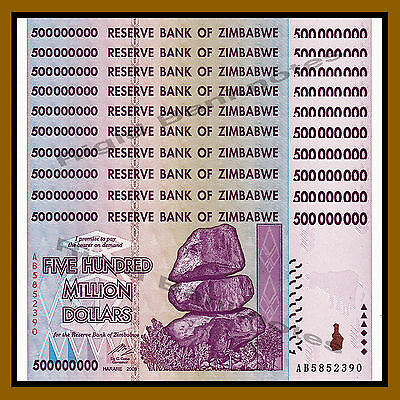 Zimbabwe 500 Million Dollars x 10 Pcs, 2008 AB Unc, 100 Trillion Series