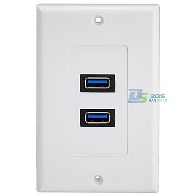 USB 3.0 2Ports Wall Socket Charger Receptacle Outlet Plate Panel Dock Station