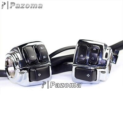 """Pair Motorcycle 1"""" Handlebar Control Switches Chrome + Wiring Harness for Harley"""