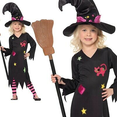 Girls Cinder Witch Costume & Hat & Tights Scary Halloween Fancy Dress 1-6 Years