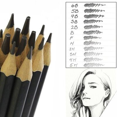 12 GRADED ART SKETCHING PENCILS IN CASE H,B Drawing/Shades/Light/Dark UK