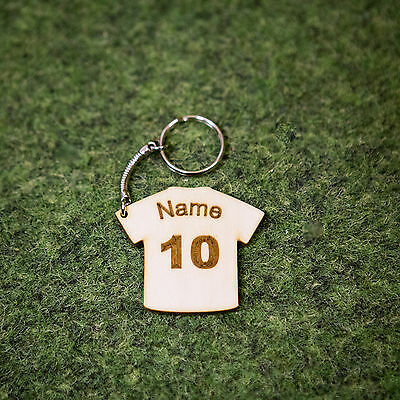 Personalised Wooden Football Keyring Keychain Gift Euro 2016  Name Fathers Day