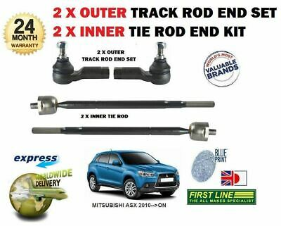 FOR MITSUBISHI ASX 2010->NEW 2x OUTER + 2x INNER STEERING TRACK RACK ROD TIE END