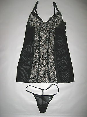 New Rene Rofe Sexy Black Lingerie Chemise with Thong Panties Sleepwear Size S M