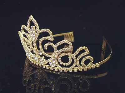 Wedding Bridal Gold Crystal Headband Tiara Crown Prom Hair Comb Jewelry
