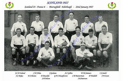 "SCOTLAND 1927 (v France) 12"" x 8"" RUGBY TEAM PHOTO PLAYERS NAMED"