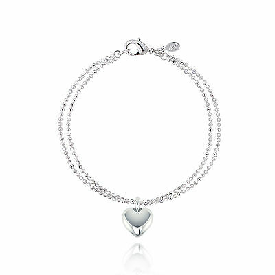 Joma Jewellery CHARLOTTE silver plated double chain bracelet heart charm in bag