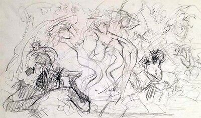 """Julian Ritter-Sketch Of Nude Ladies-Charcoal  on Card_ 13"""" x 24"""" Un-Signed - 323"""