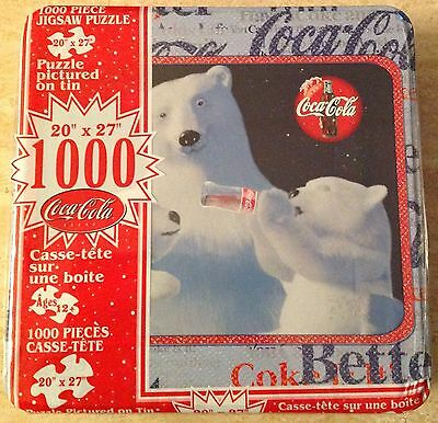 "NEW ""Coca-Cola"" 1,000 Piece Jigsaw Puzzle -Polar Bear & Cub/Collectors Tin"