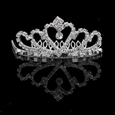 Bridal Wedding Pageant Crystal Crown Tiara Headband Hair Comb Jewelry Silver