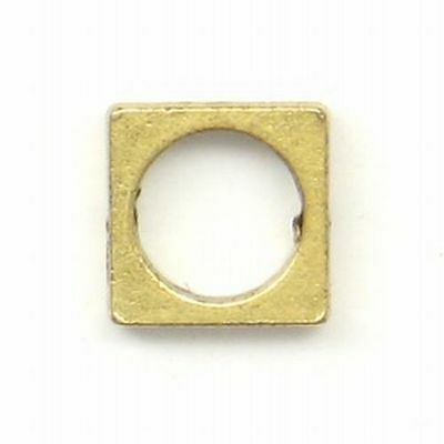 Square Bead Ring w/ Round Center Hole 10MM Gold Silver Gun Metal Nickel 2 Pieces