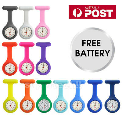 2x Silicone Nurse Brooch Tunic Fob Watch Nursing Nurses Pendant Pocket Watch OZ